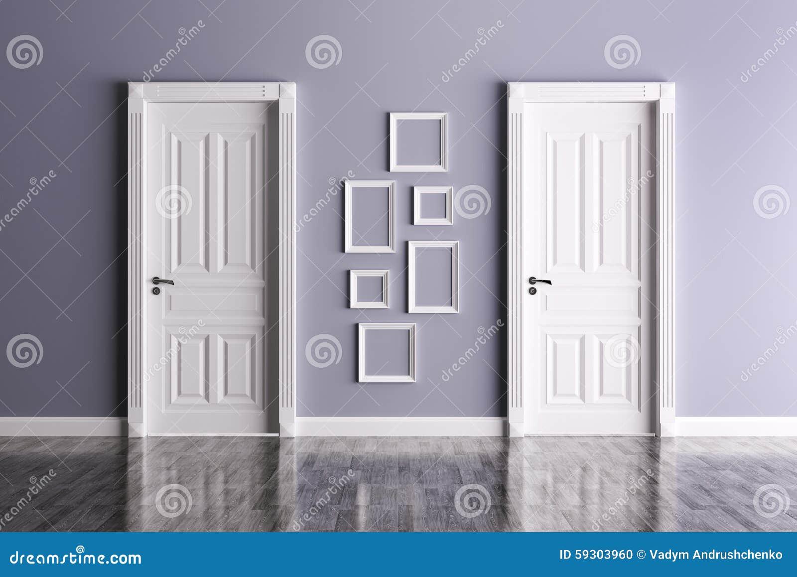 Interior Con Dos Puertas Y Marcos Stock de ilustración - Ilustración ...