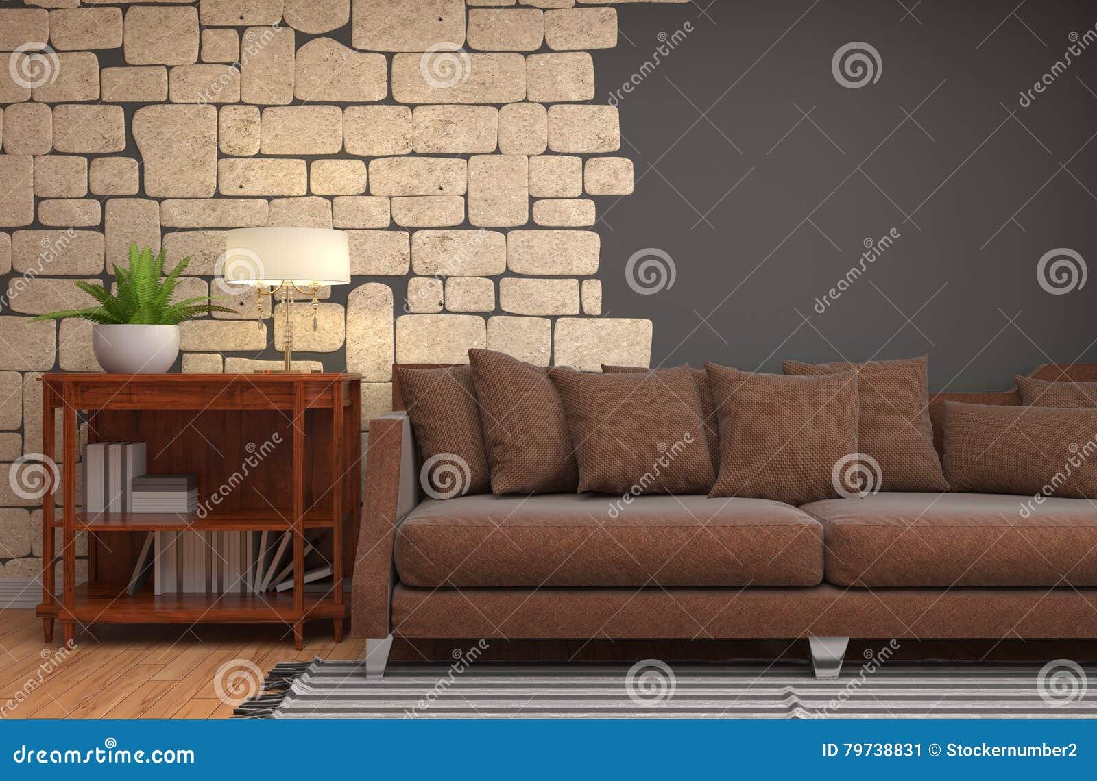Interior con el sofá ilustración 3D