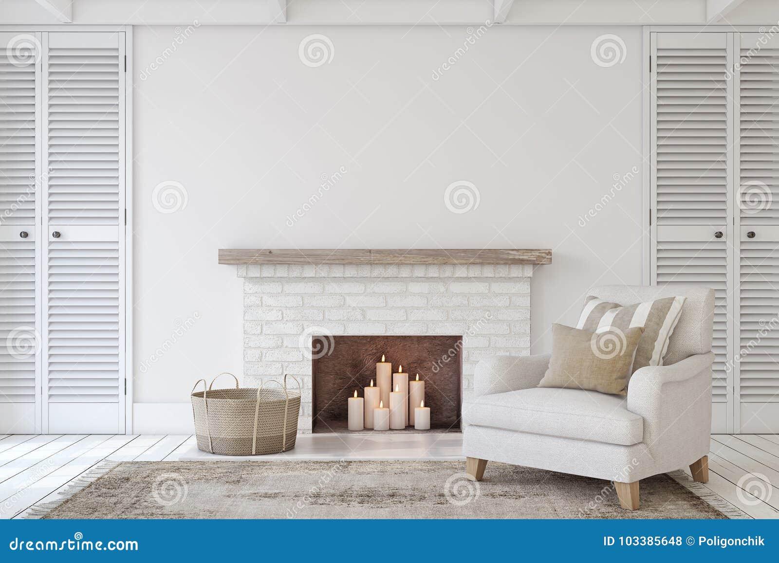 Interior con la chimenea 3d rinden