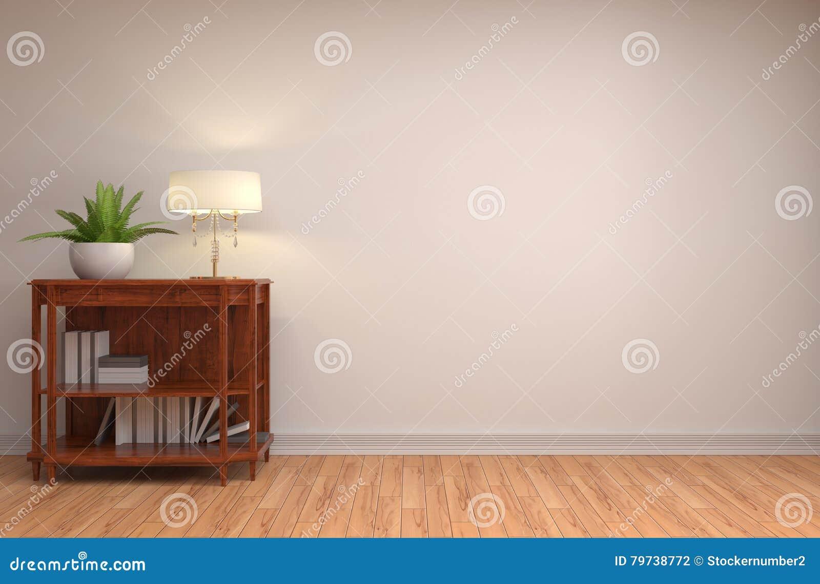 Interior con la lámpara ilustración 3D