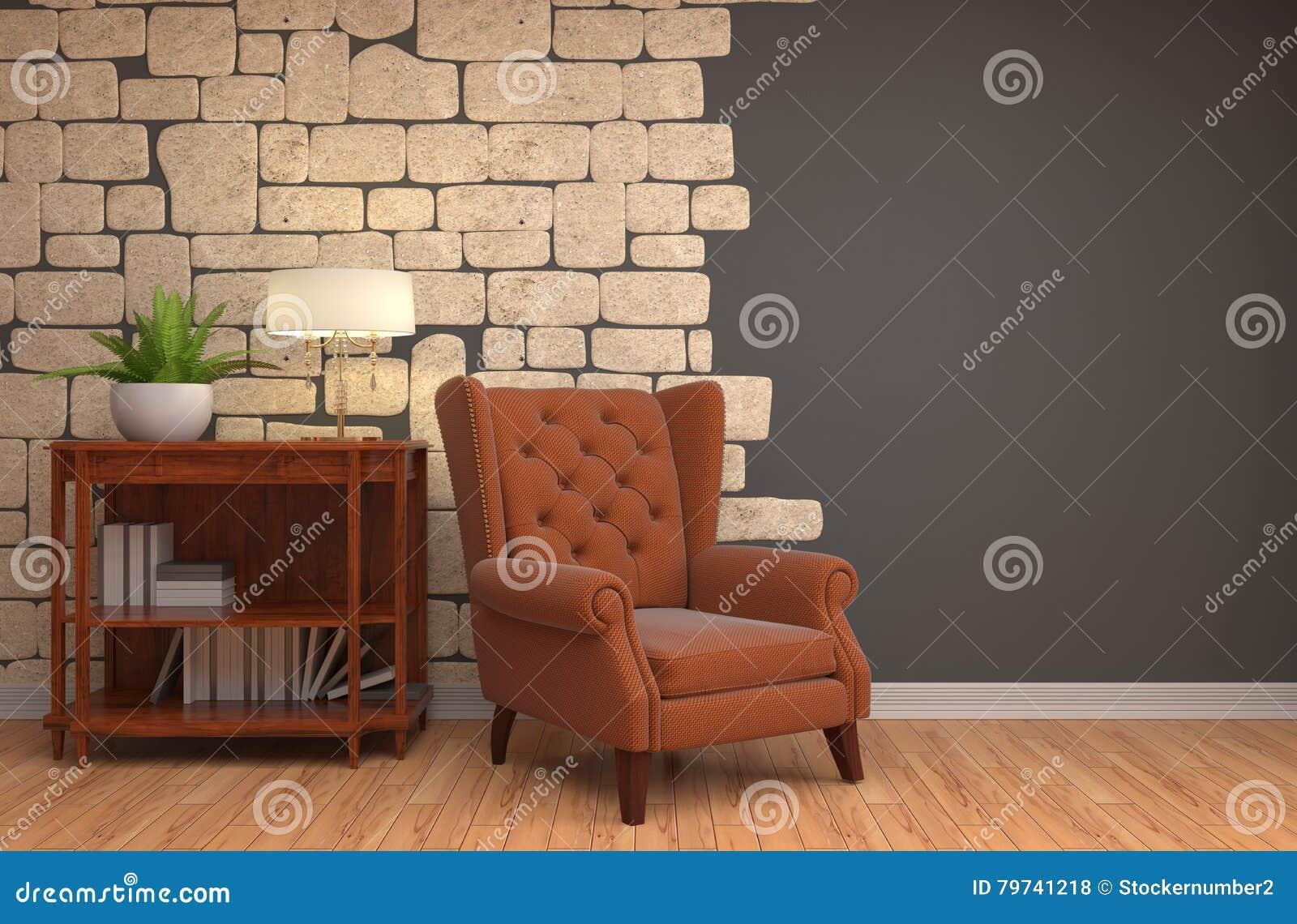 Interior con la silla ilustración 3D