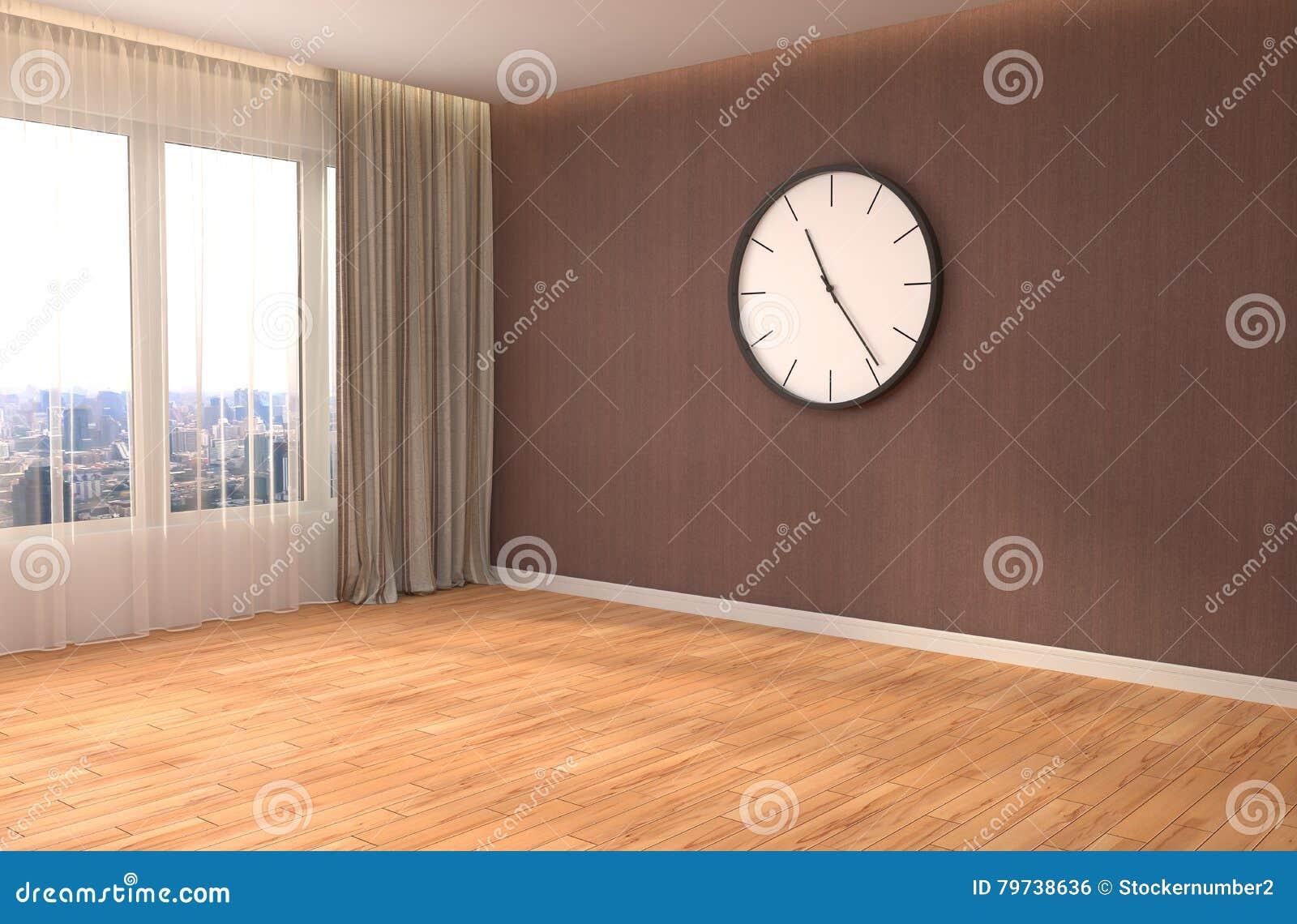 Interior con la ventana grande ilustración 3D