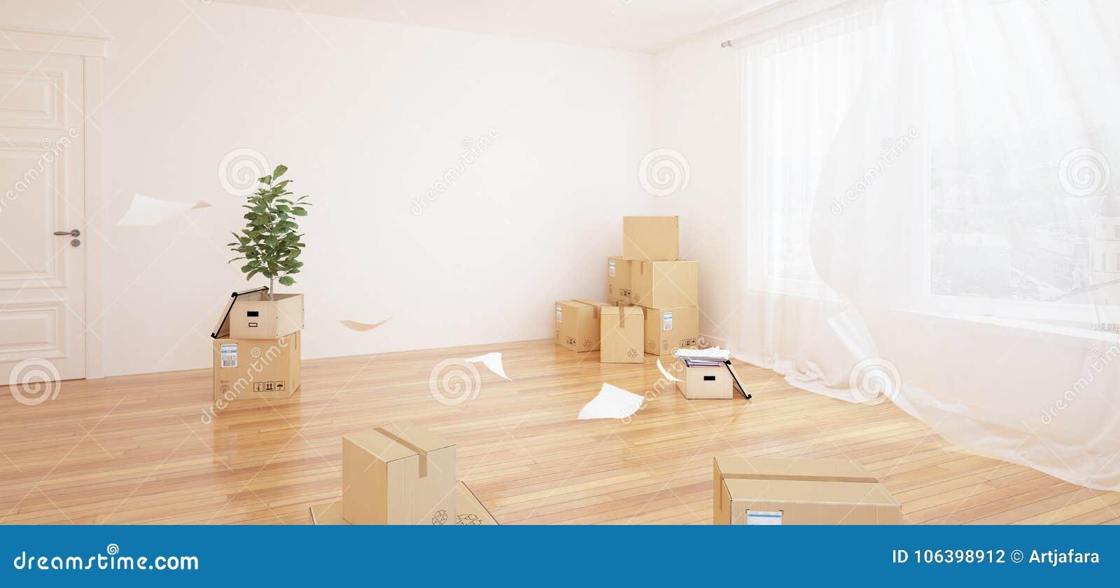 Interior con las cajas móviles en sitio blanco vacío