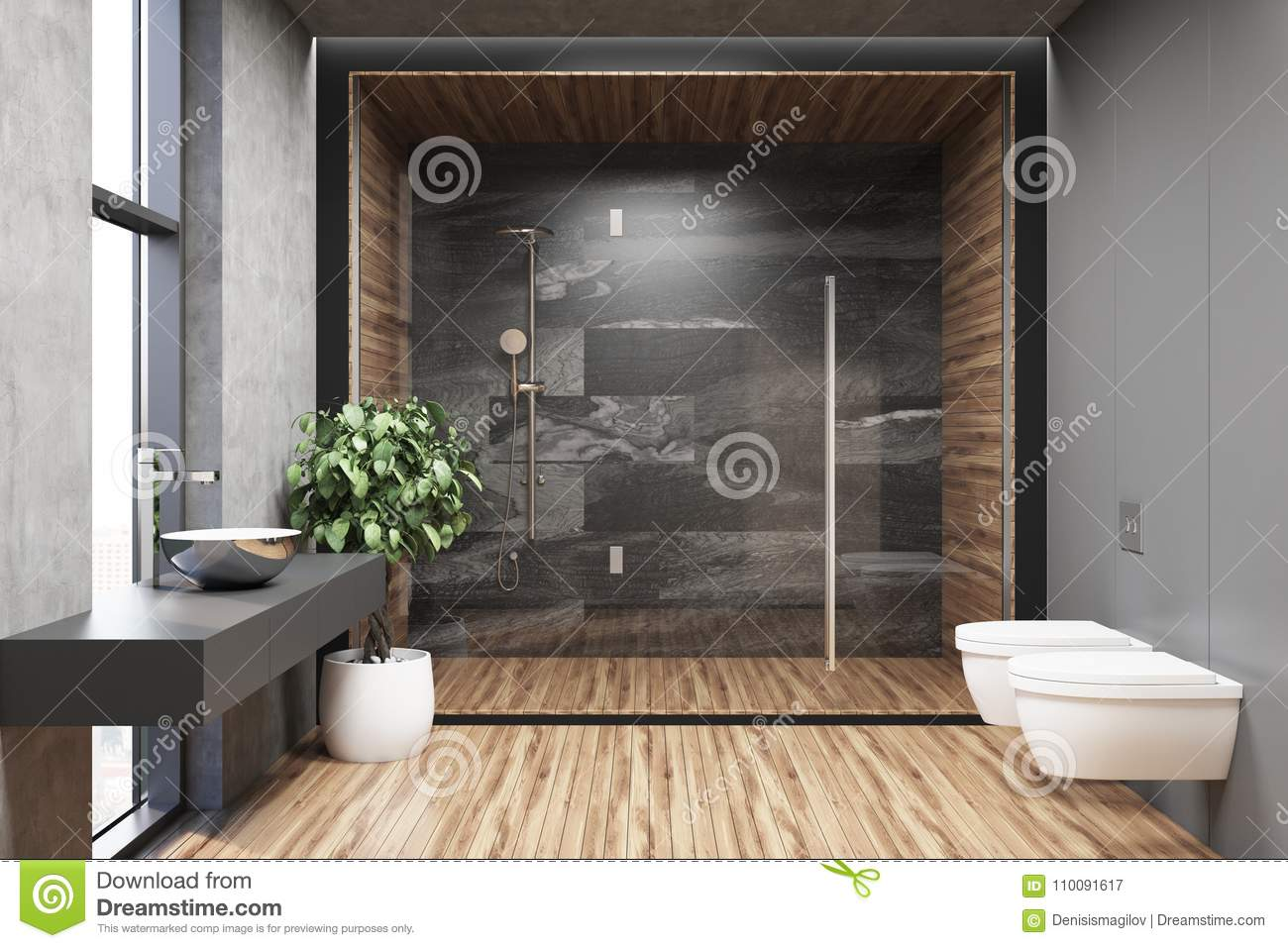 Interior Of A Gray Bathroom With Wood Floor Stock Illustration Illustration Of Empty Furniture 110091617