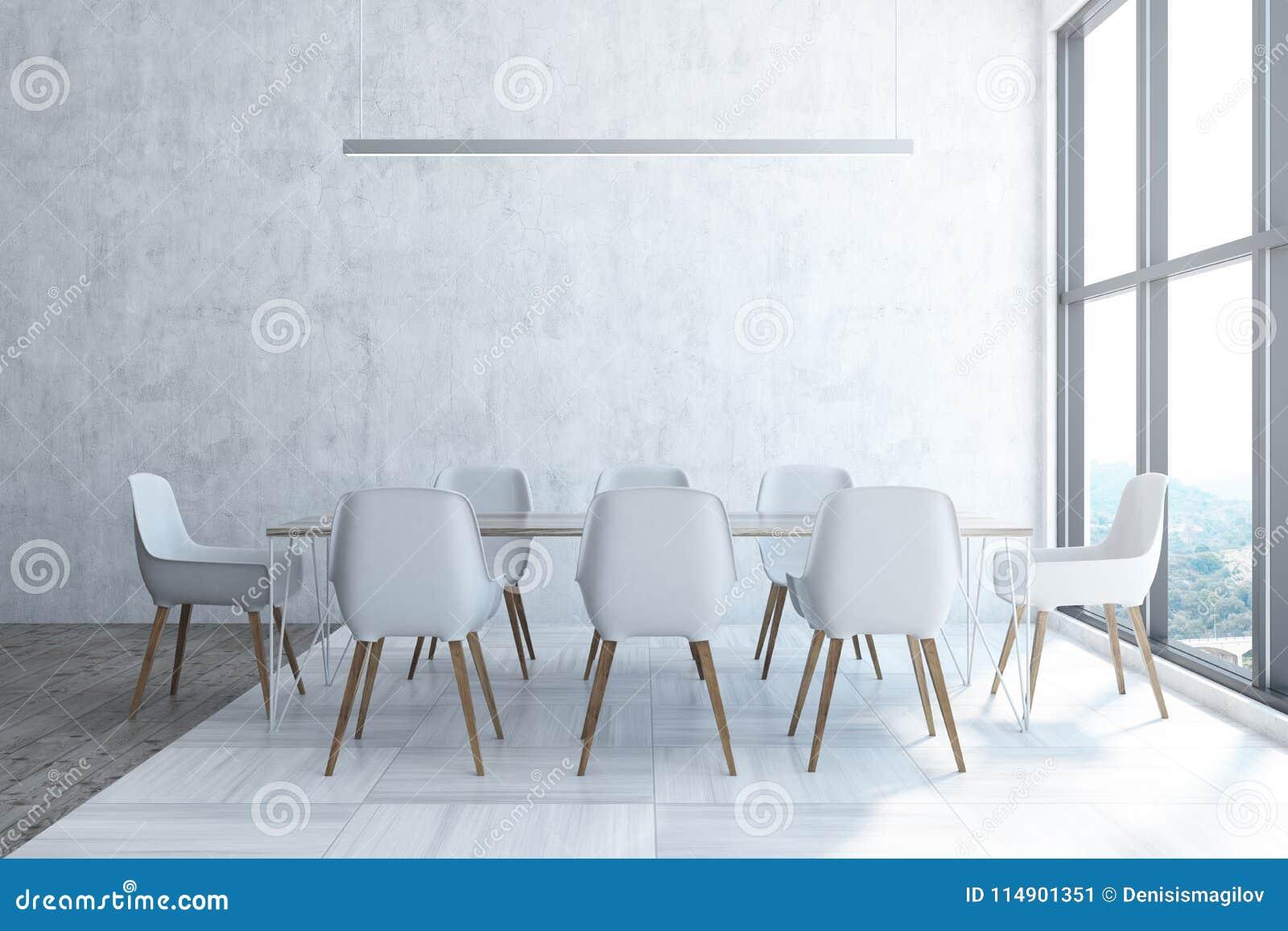 Panoramic White Dining Room Interior Stock Illustration ...