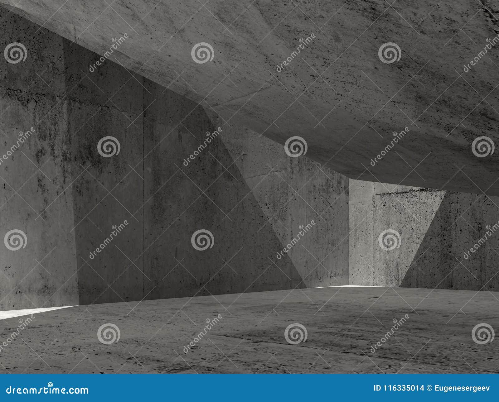 Interior concreto escuro abstrato, ilustração 3d