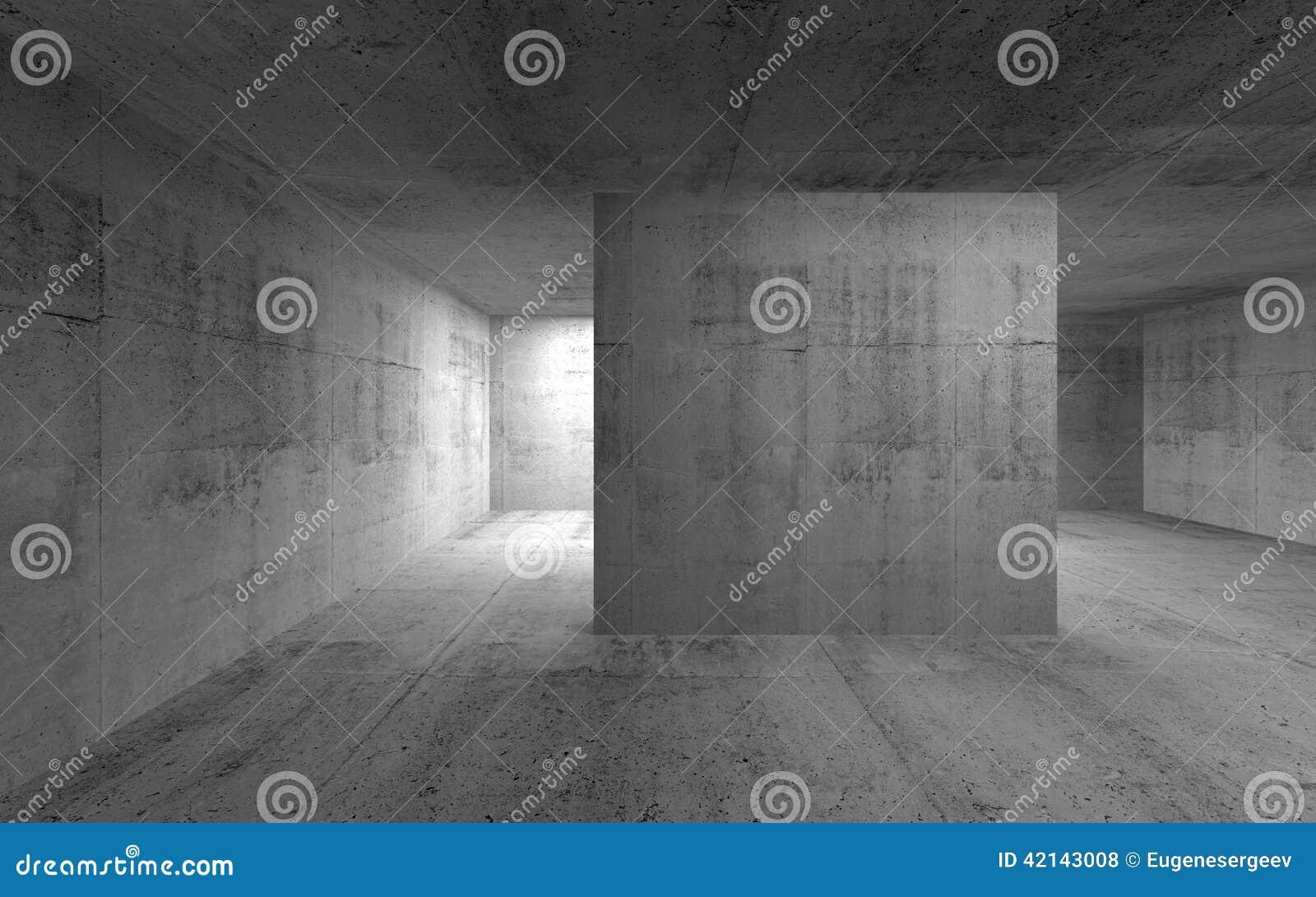 Interior concreto escuro vazio abstrato 3d rendem