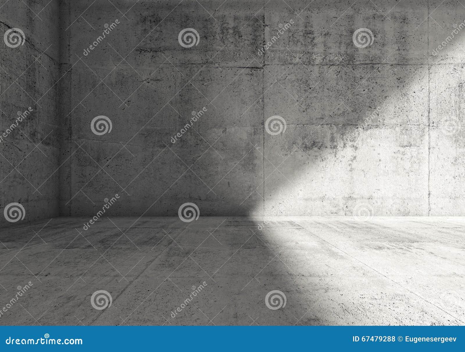 Interior concreto escuro vazio abstrato da sala 3d