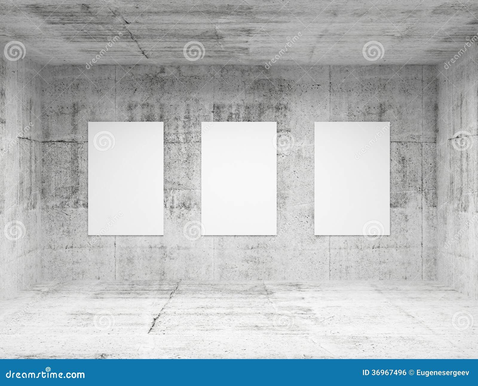 Interior Concreto Vacío De La Galería De Arte Abstracto Stock de ...