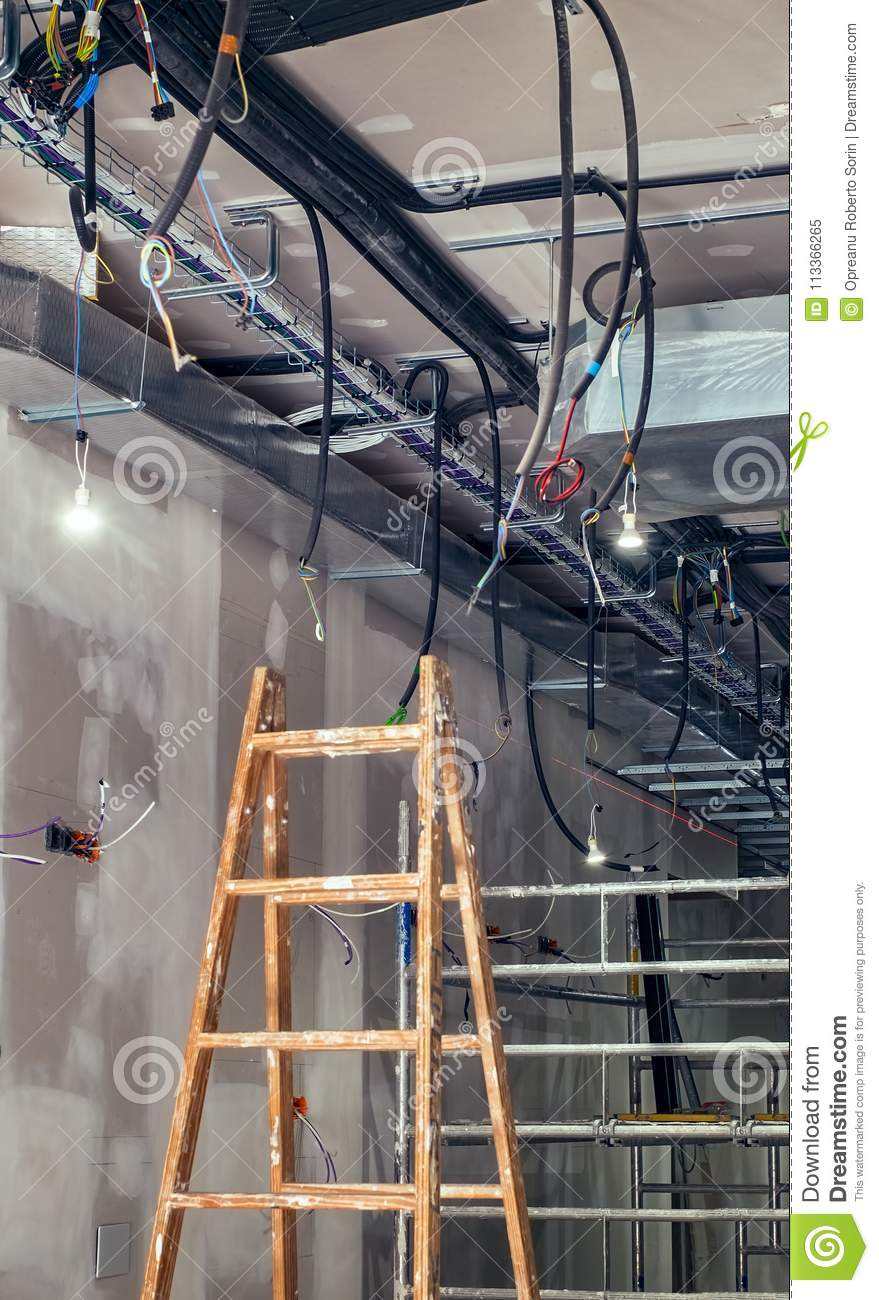 Interior Construction Building Site With Ventilation System Stock ...