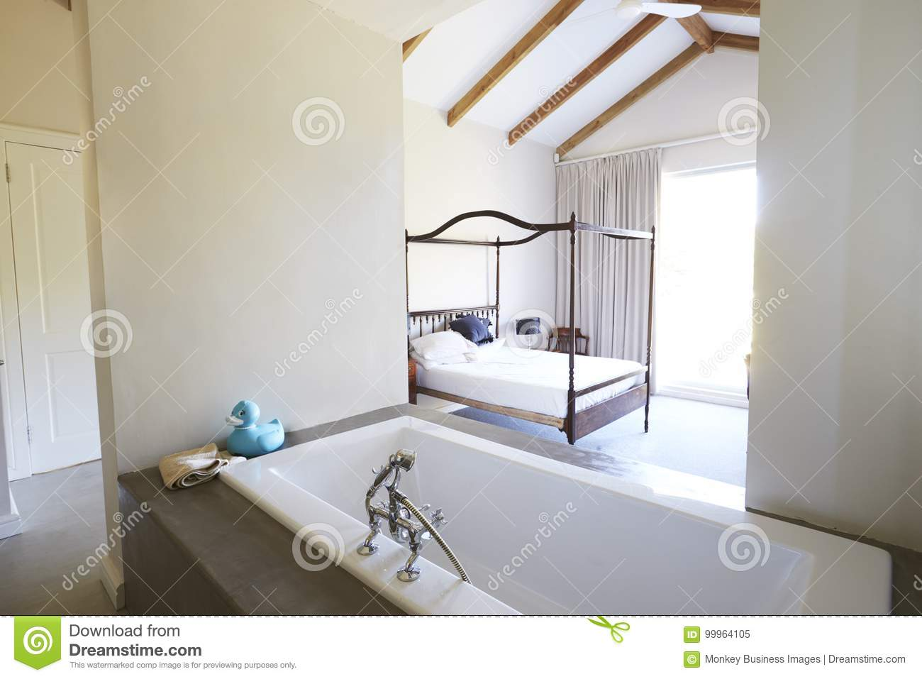 Interior Of Contemporary Open Plan Bedroom With Bath Stock Image ...