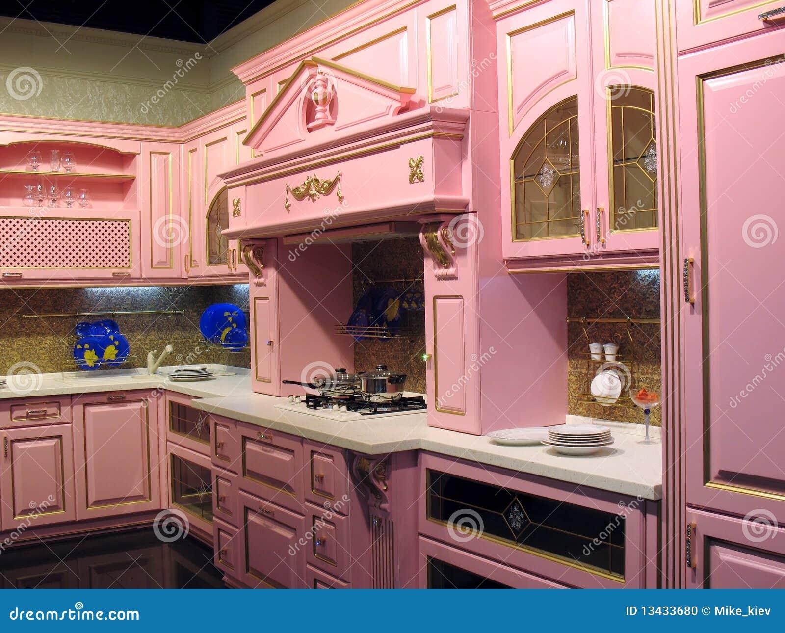 Interior Cor De Rosa Da Cozinha Foto De Stock Imagem