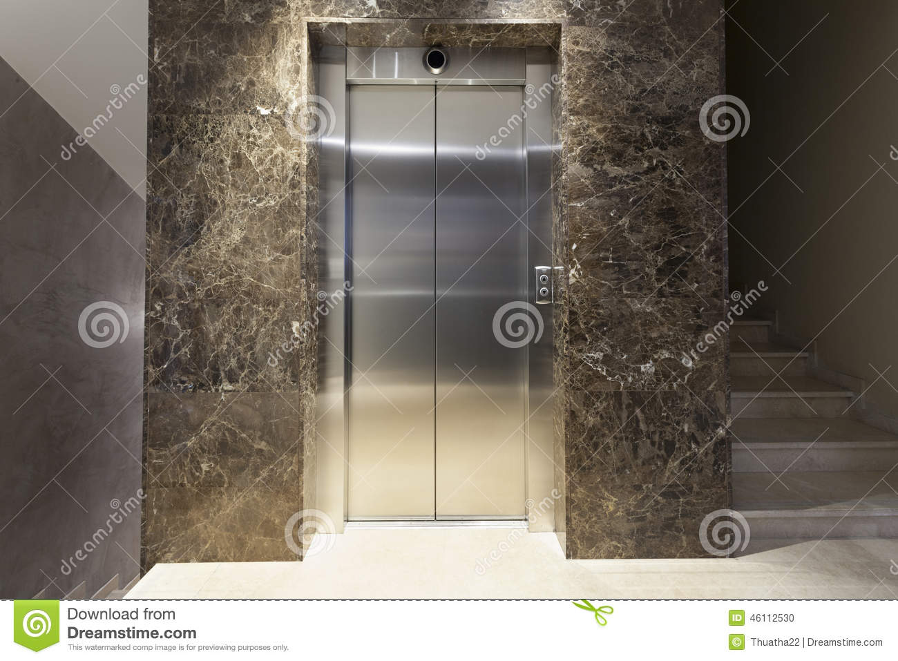 Interior Of A Corridor With Passenger Lift And Marble Stairs Stock Photo 46112530 Megapixl