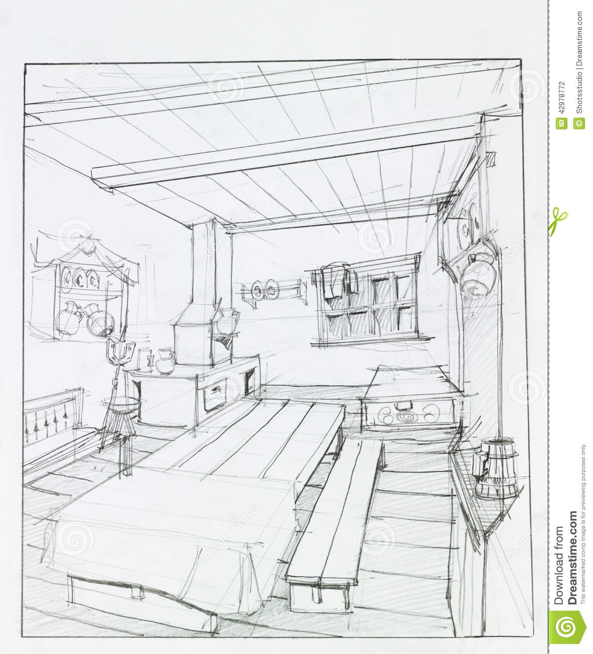 Interior of countryside summer kitchen stock illustration - Cocina en perspectiva ...