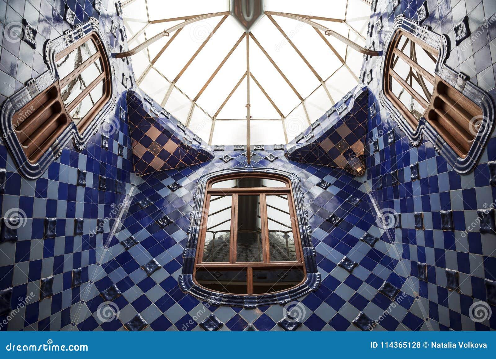 Interior Of The Courtyard Of The Casa Batllo In Barcelona