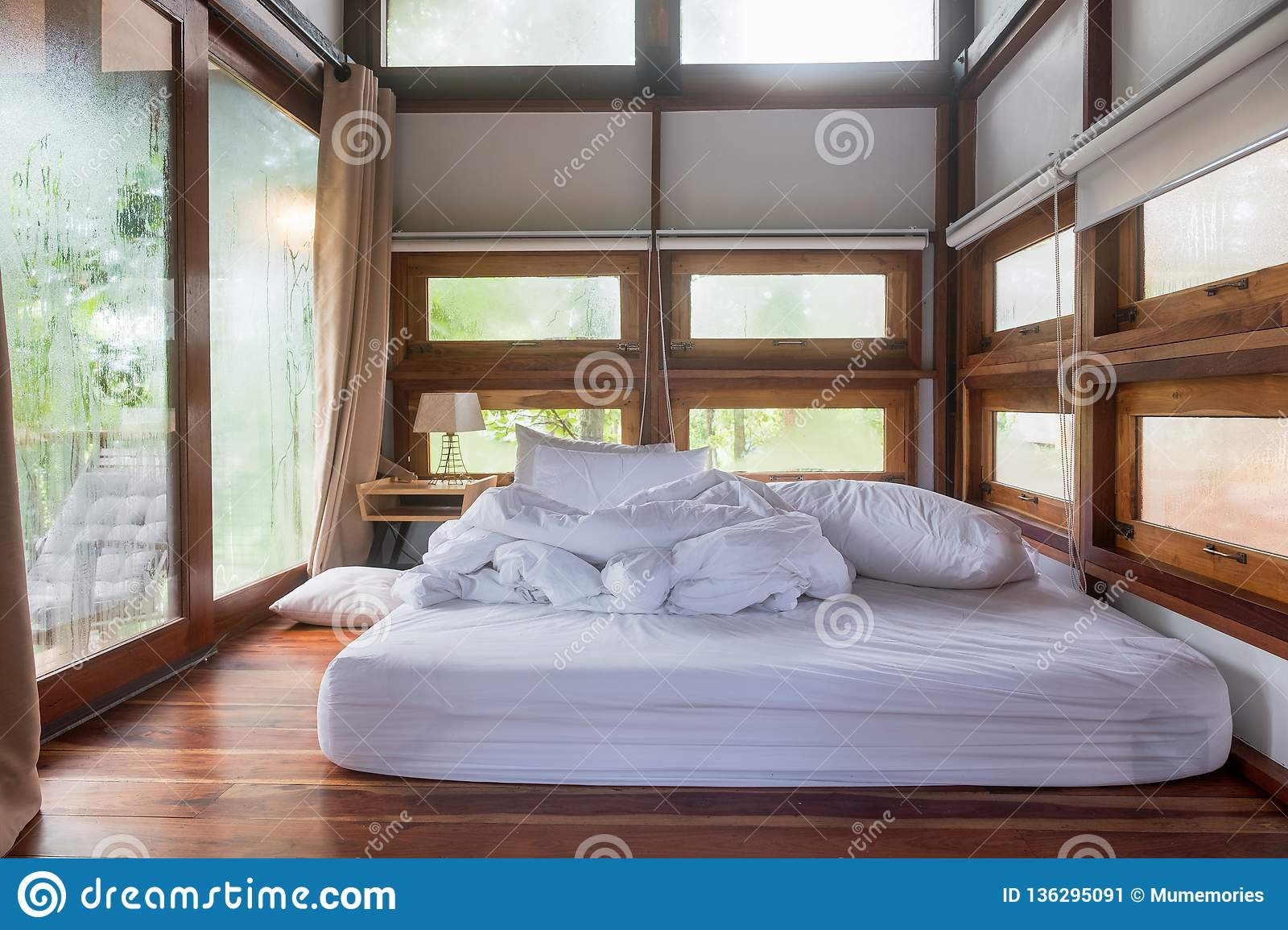 Interior Cozy Bedroom After Waking Up In Wooden House At Morning Stock Image Image Of Pillow Hotel 136295091
