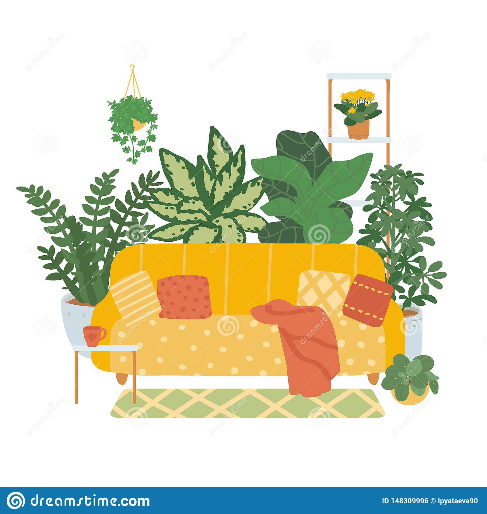 Interior of a cozy living room isolated on white background. Trend décor of indoor plants. Vector illustration in the