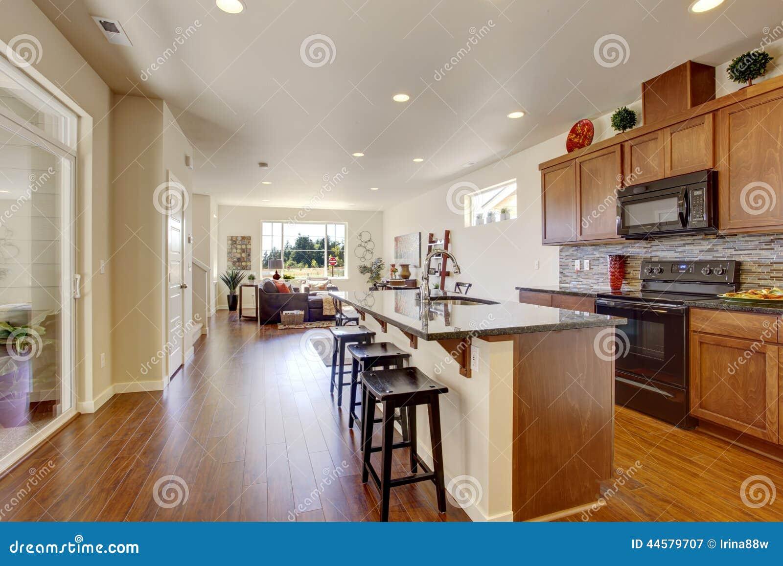Interior Da Casa Com Planta Baixa Aberta Sala Da Cozinha Com Ilha