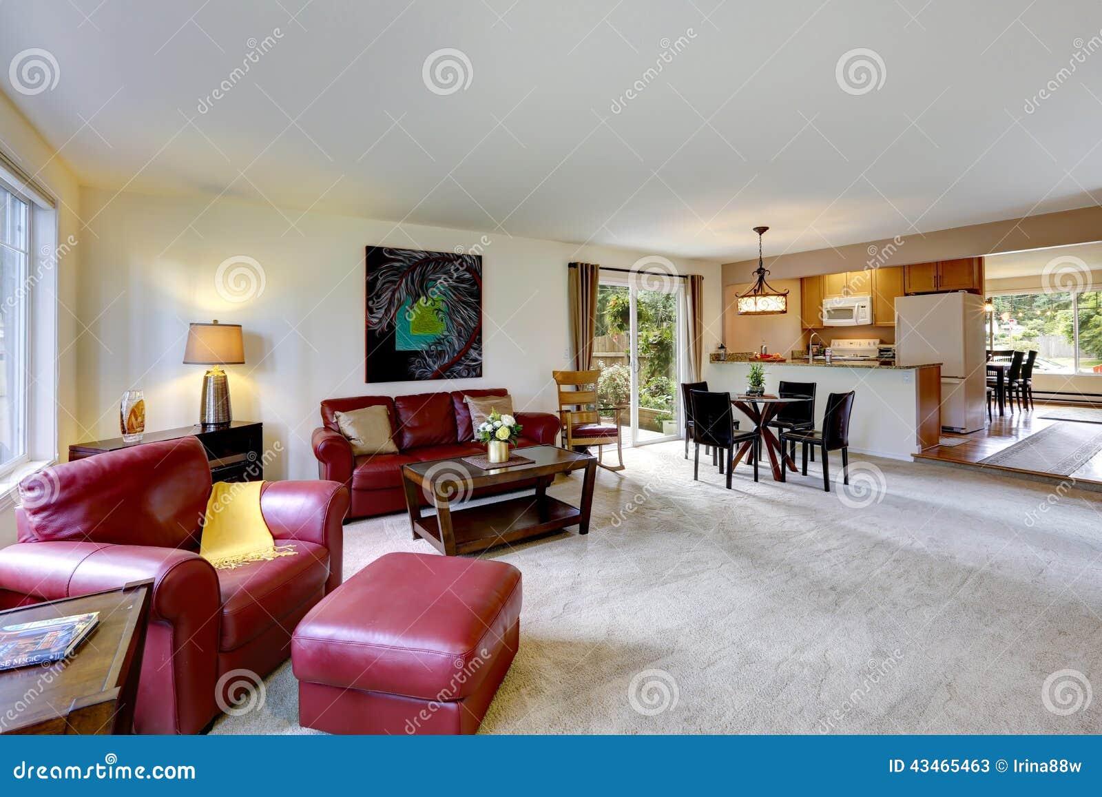 Foto de Stock: Interior da casa com planta baixa aberta Vida e sala da  #6E2924 1300 957