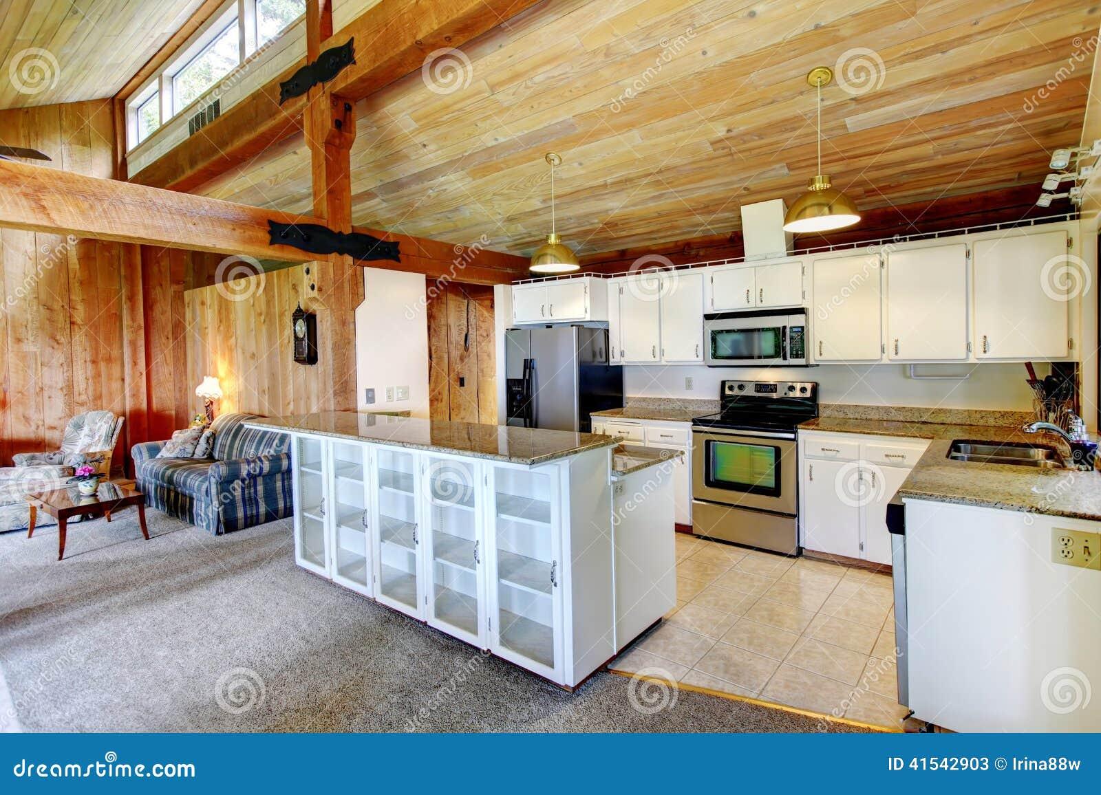 da casa da cabana rústica de madeira Ideia da sala branca da cozinha  #7A3A11 1300 956