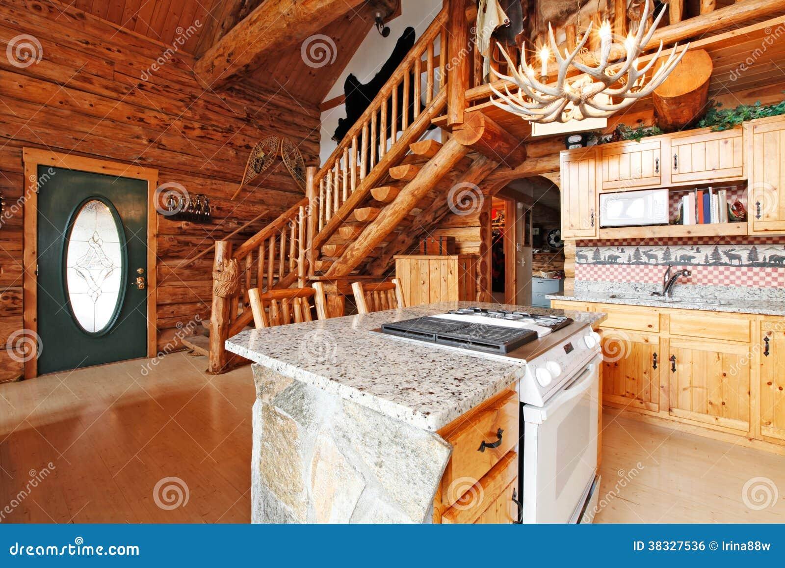 de madeira com armário rochoso e o fogão branco. Vista do salão de #B54911 1300x957