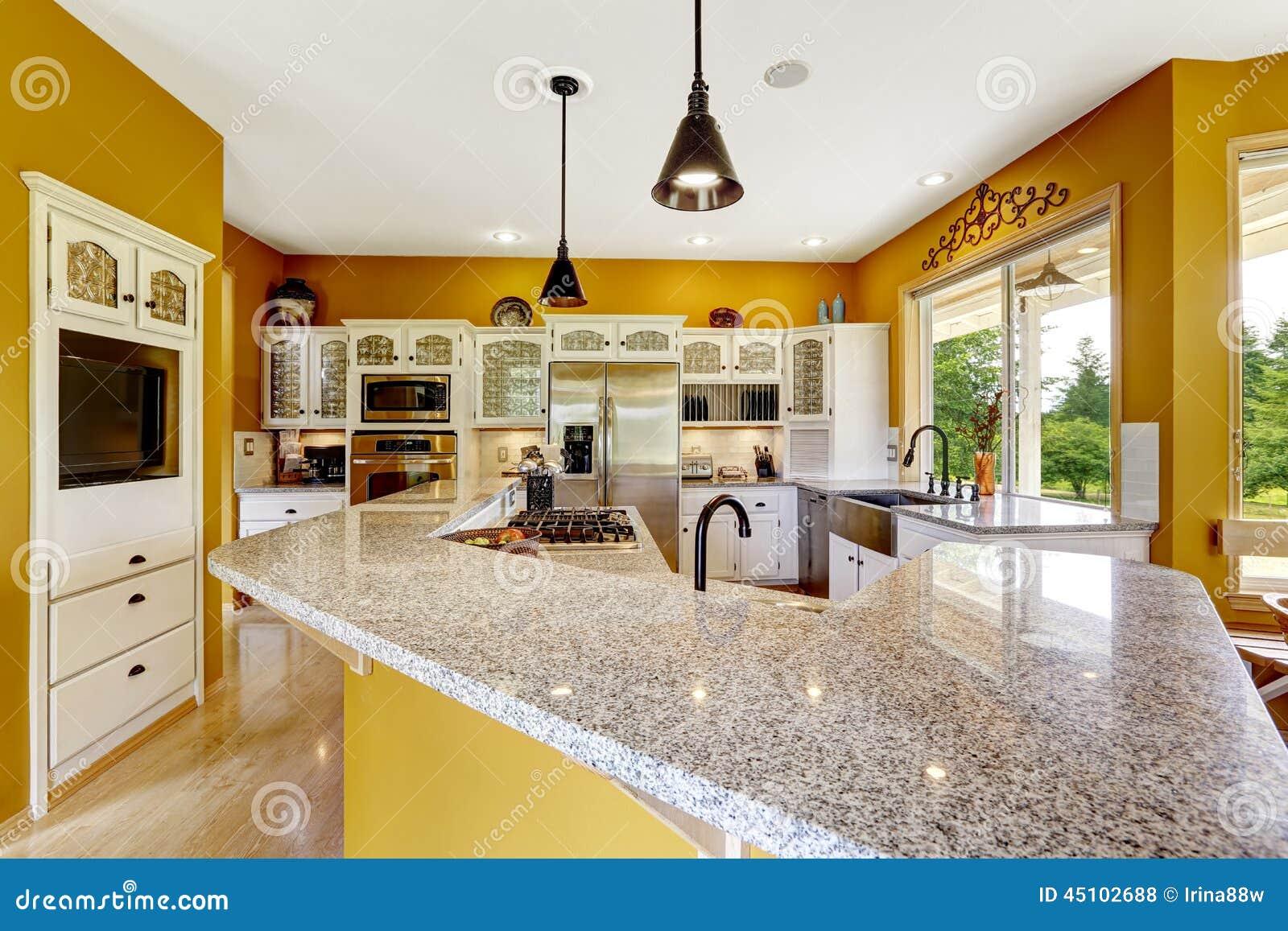 Interior Da Casa Da Explora O Agr Cola Sala Luxuosa Da Cozinha Com