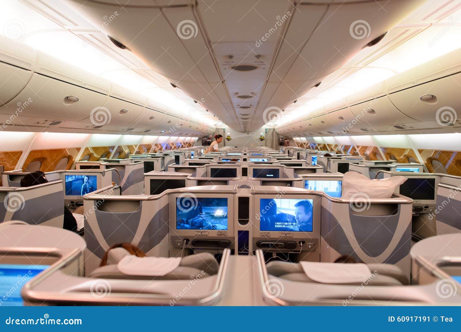 Interior da classe executiva de airbus a380 dos emirados for Airbus a380 interior