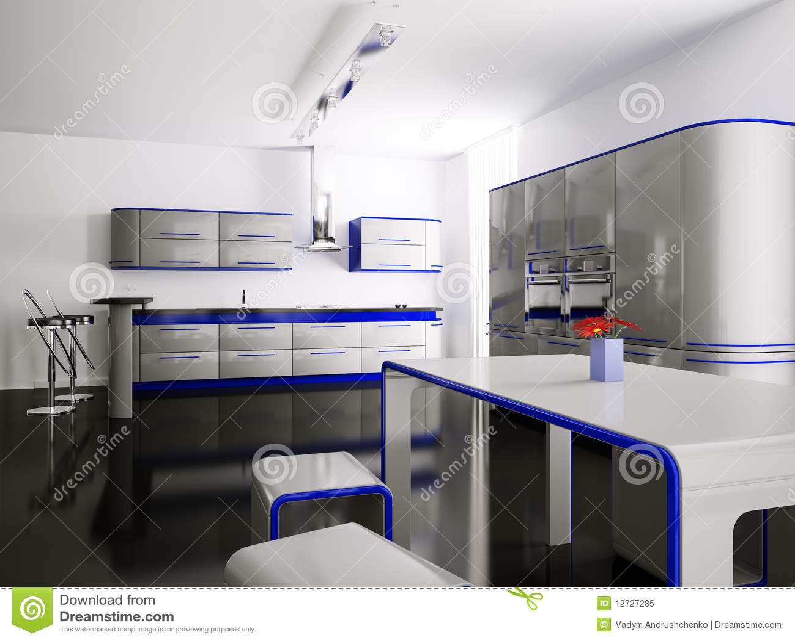 Interior Da Cozinha Azul Cinzenta 3d Foto de Stock Royalty Free  #1621B5 1300 1065