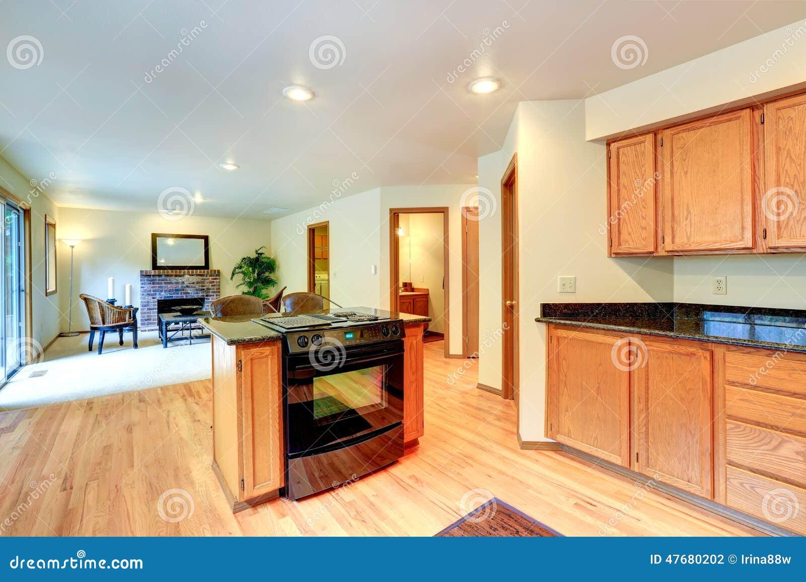Interior Da Cozinha Com O Fog O Da Ilha E Do Acess Rio Foto De Stock
