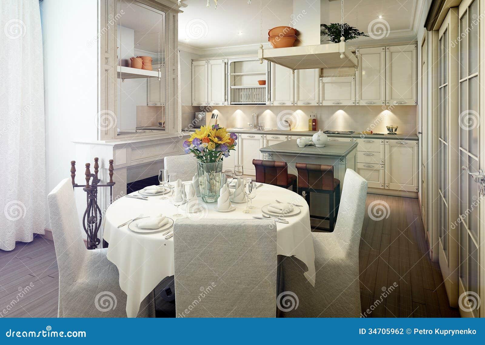 Interior Da Cozinha Do Estilo De Provence Sala De Jantar Fotografia  #82A229 1300 944