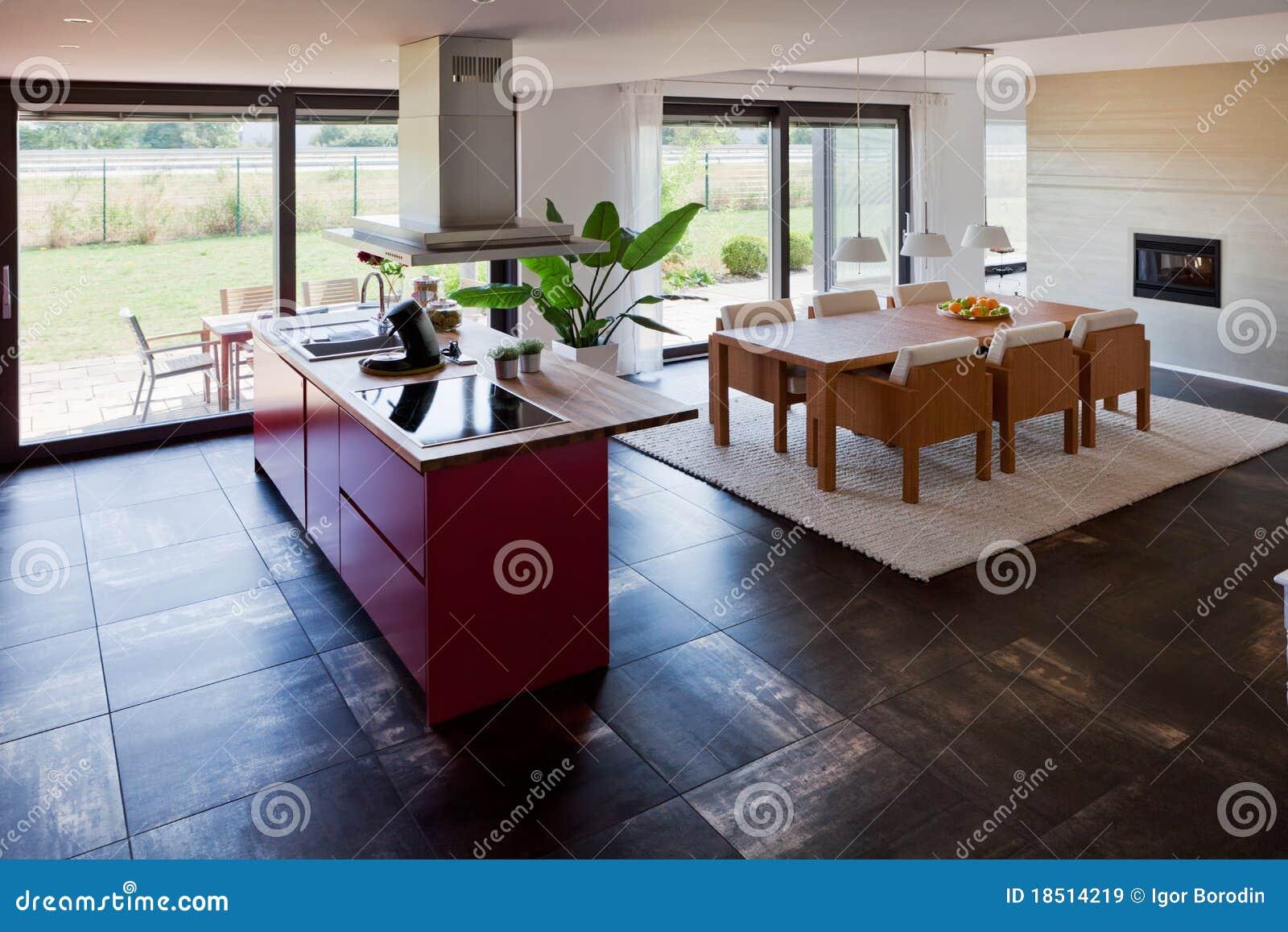 Interior Da Cozinha Moderna Da Casa Imagens de Stock Royalty Free  #613C2B 1300 957