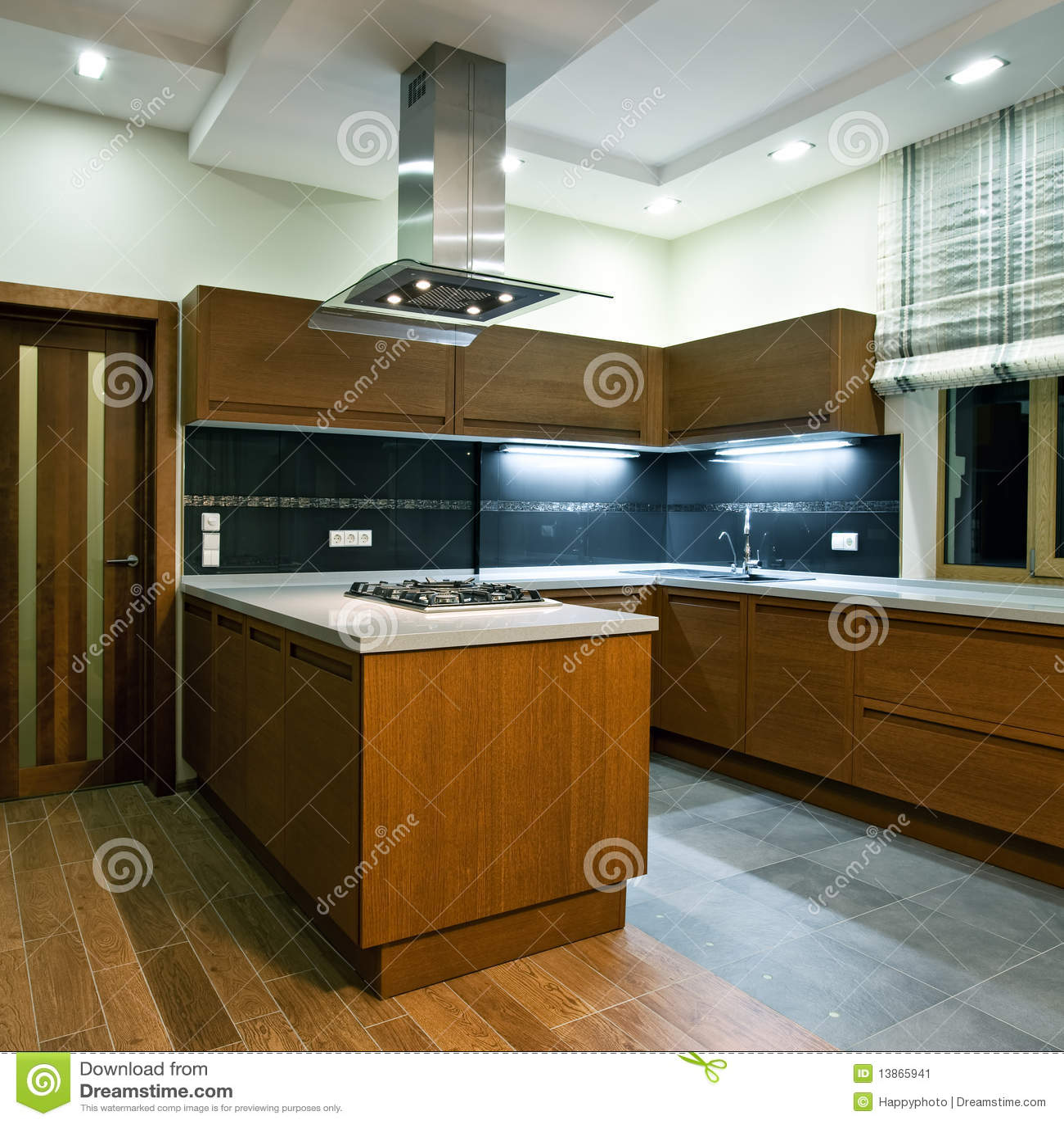 Interior Da Cozinha Moderna Nova Imagem de Stock Imagem: 13865941 #6D4413 1300 1390