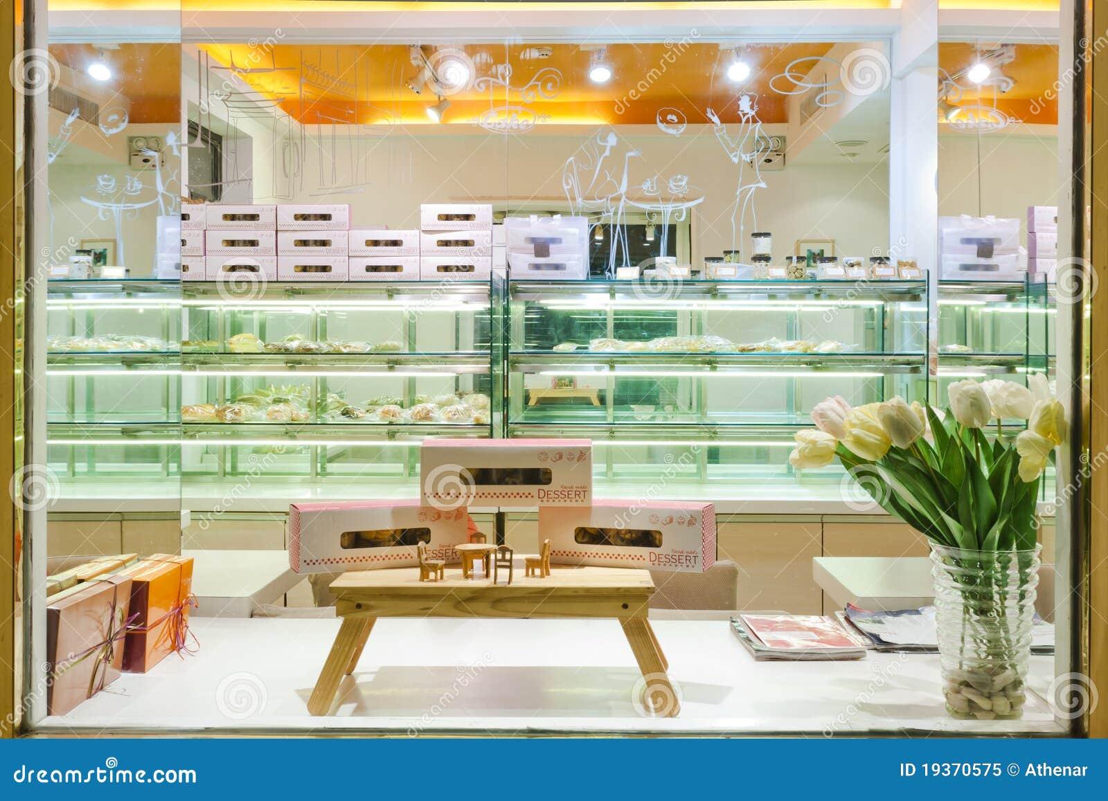 Interior da loja do bolo