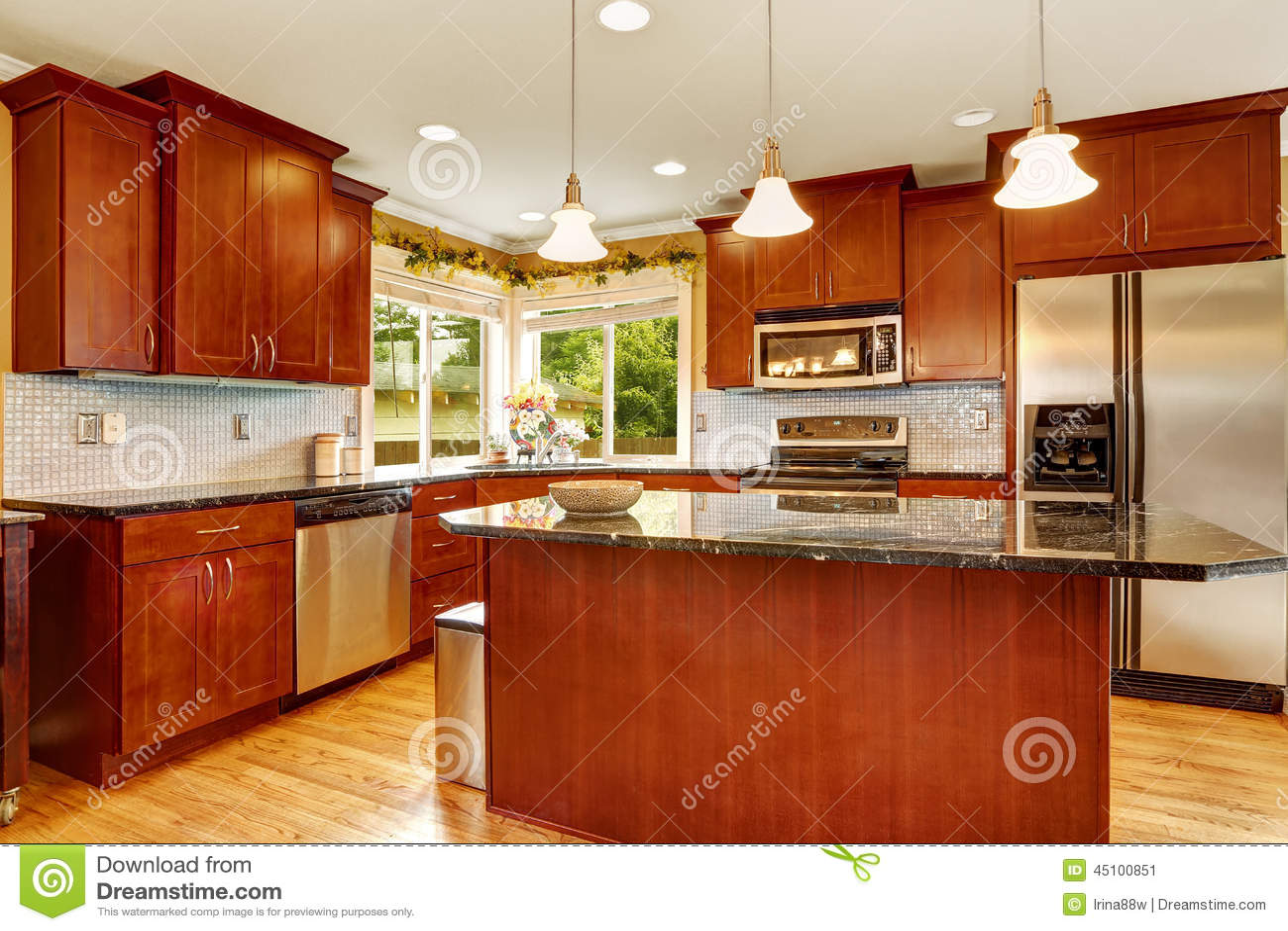 Interior Da Sala Da Cozinha Com Ilha Imagem De Stock Imagem De