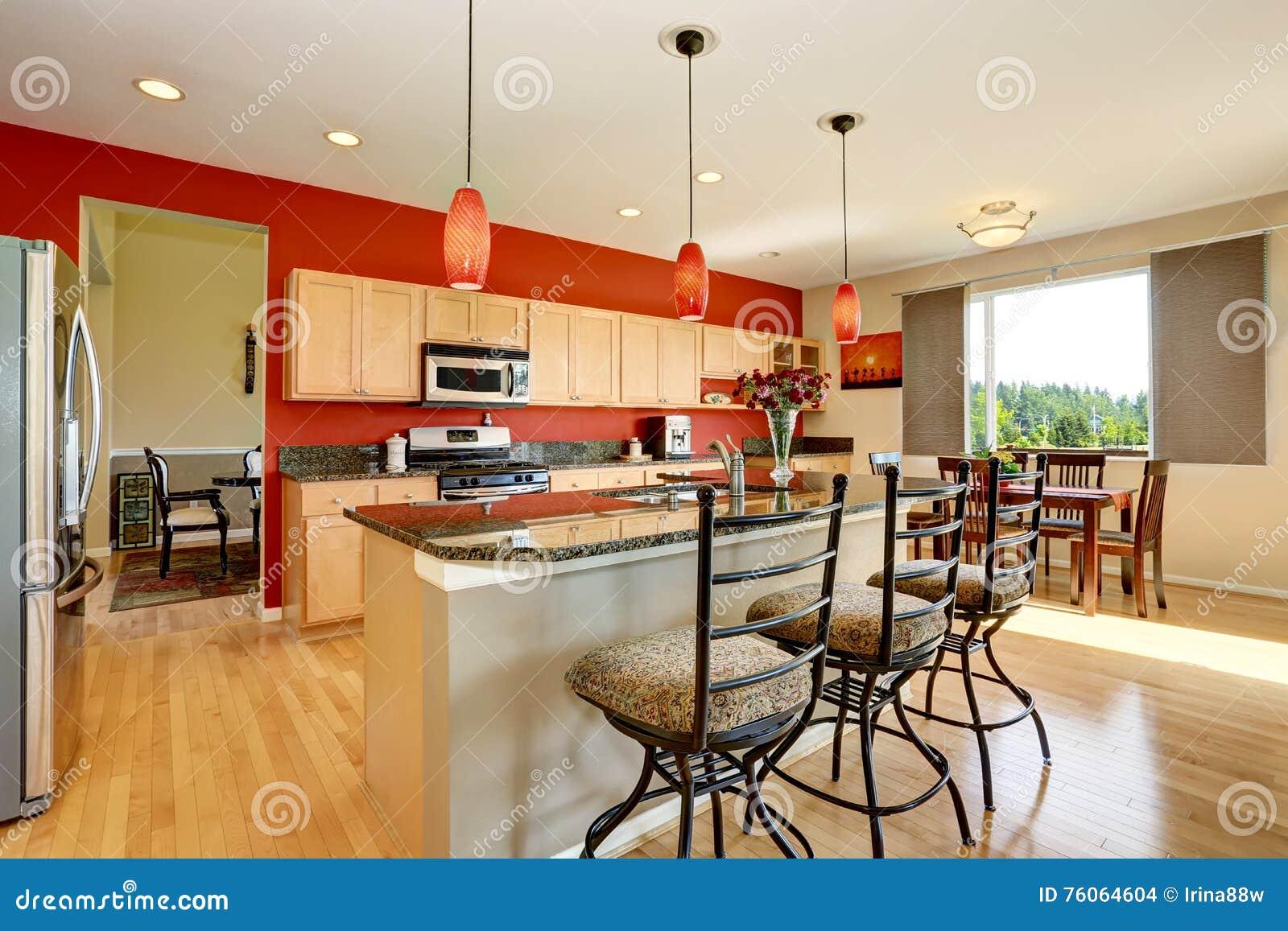 Interior Da Sala Da Cozinha Com Parede Vermelha Parte Superior