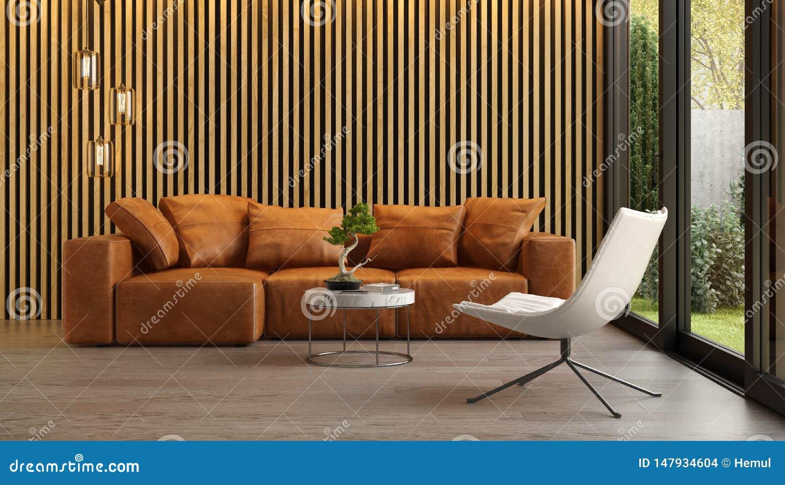 Interior da sala de visitas moderna com rendi??o do sof? 3d