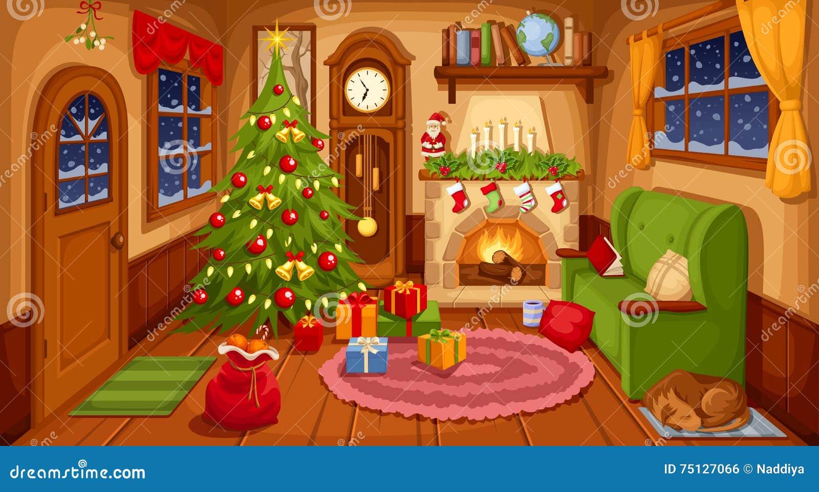 Interior da sala do Natal Ilustração do vetor