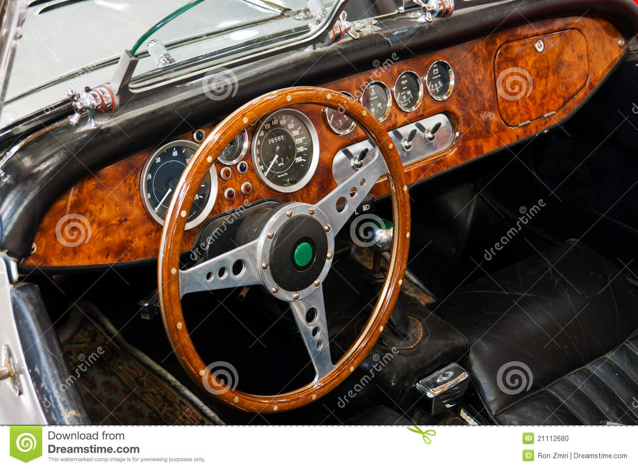 interior and dashboard on a vintage sports car stock photo image 21112680. Black Bedroom Furniture Sets. Home Design Ideas
