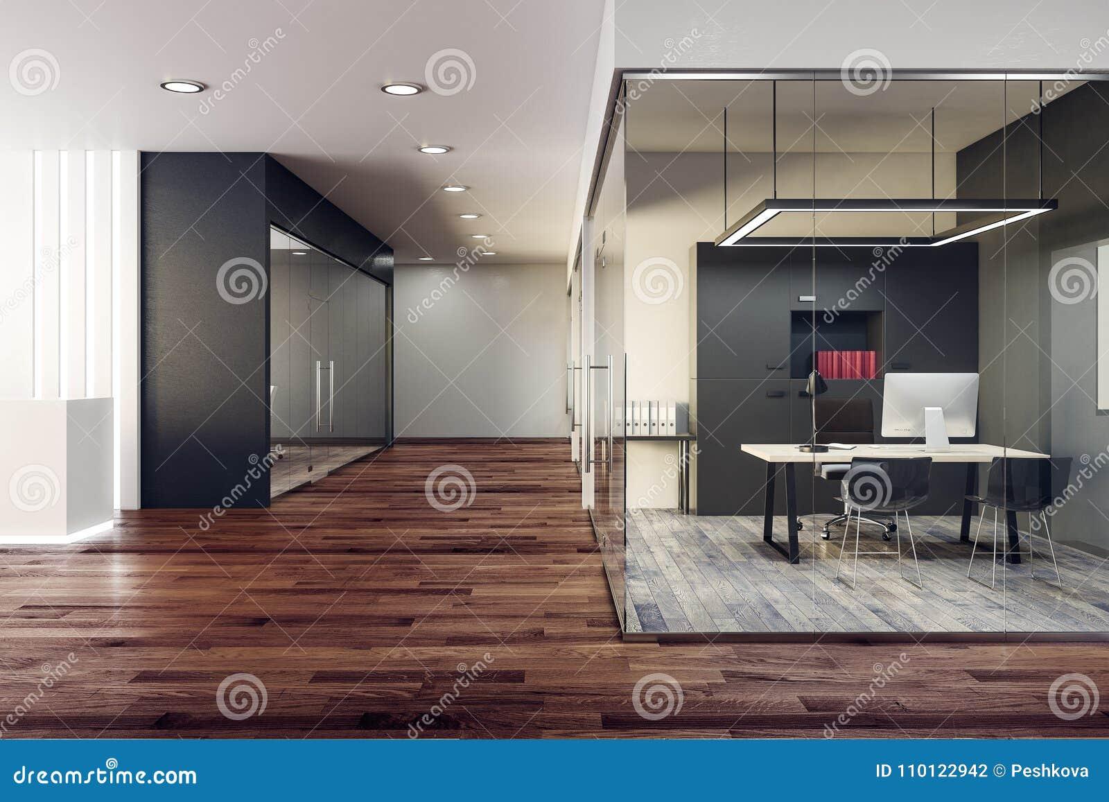 Interior de cristal brillante de la oficina
