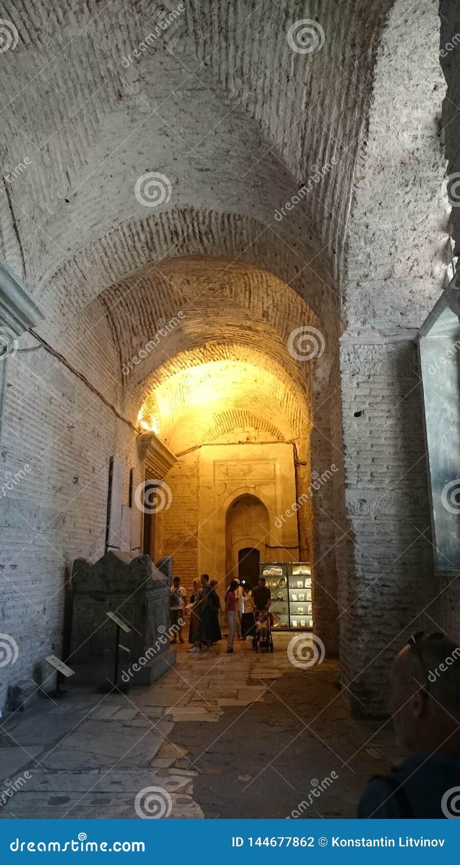 Interior de Hagia Sophia en Estambul Turqu?a - fondo de la arquitectura