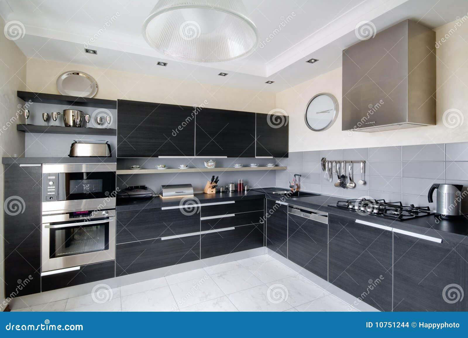 Interior de la cocina moderna imagenes de archivo imagen for Interior cocinas modernas