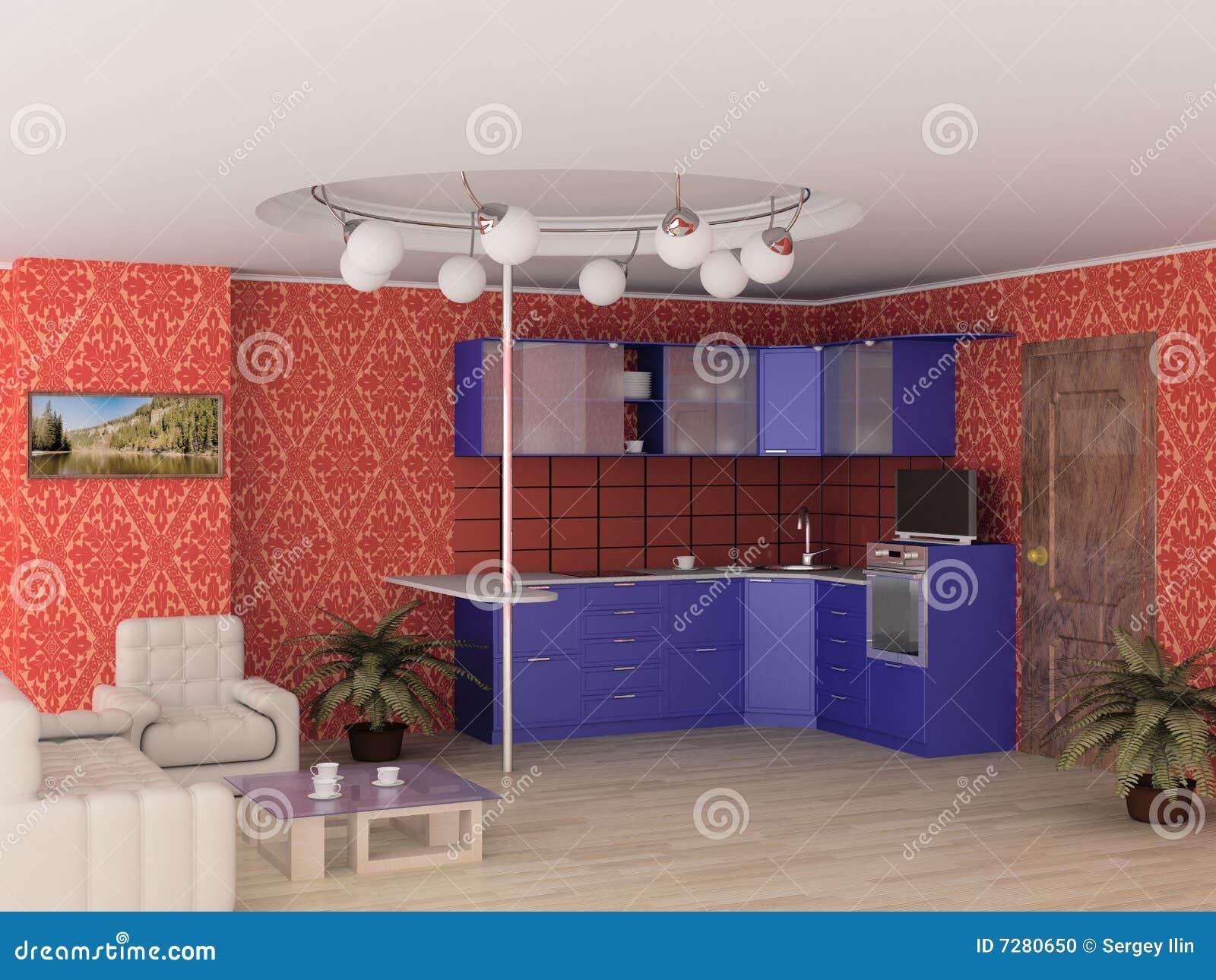 Interior de la cocina moderna.