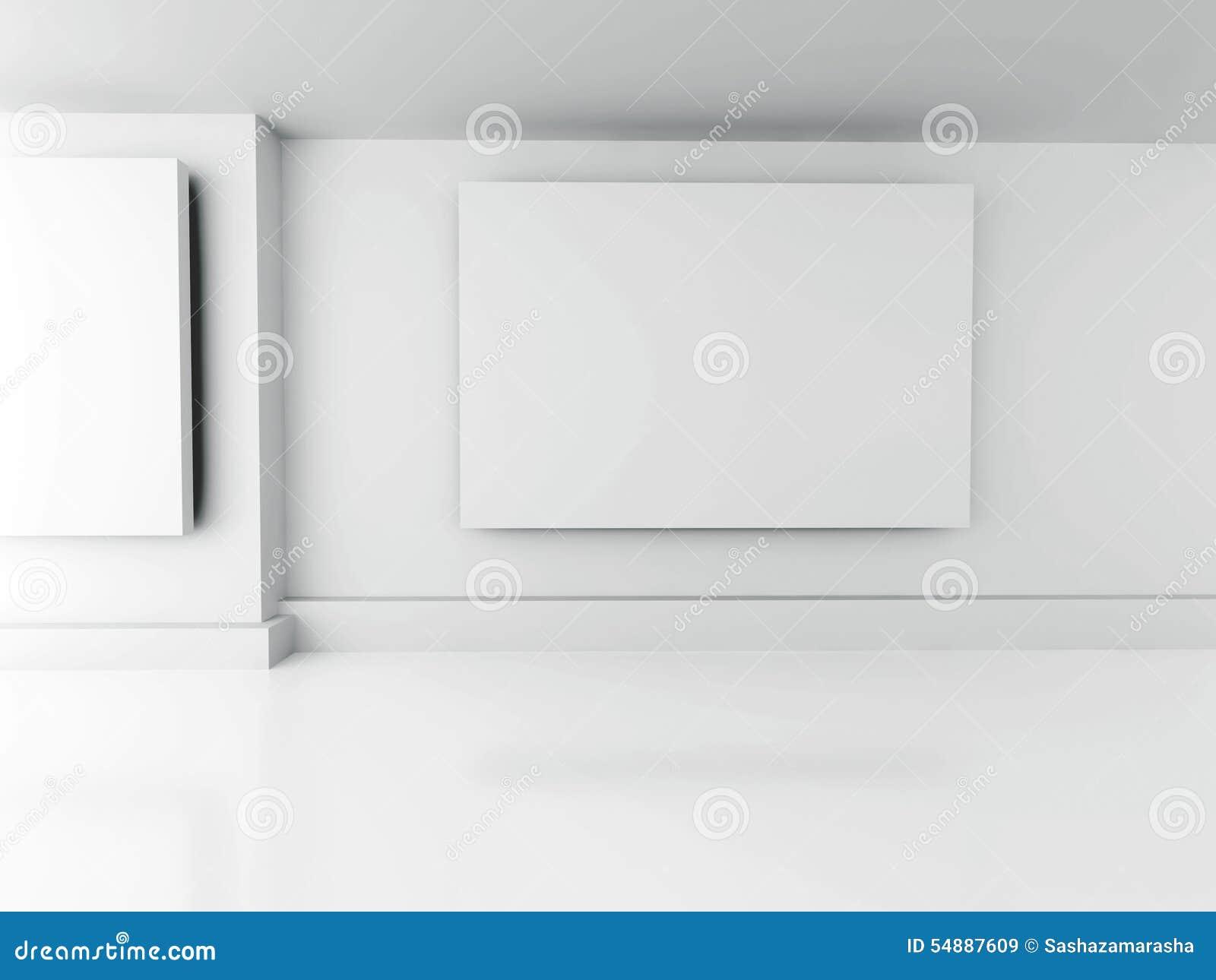 Interior De La Galería Marcos En Blanco En La Pared Diseño De La ...