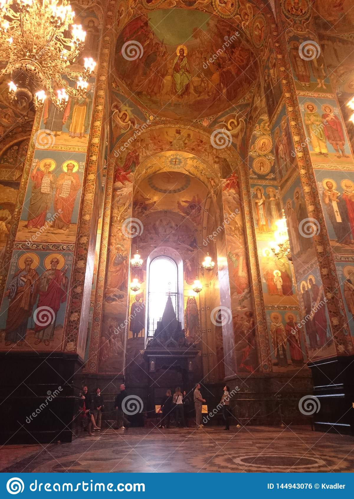 Interior de la iglesia del salvador en sangre derramada en St Petersburg, Rusia
