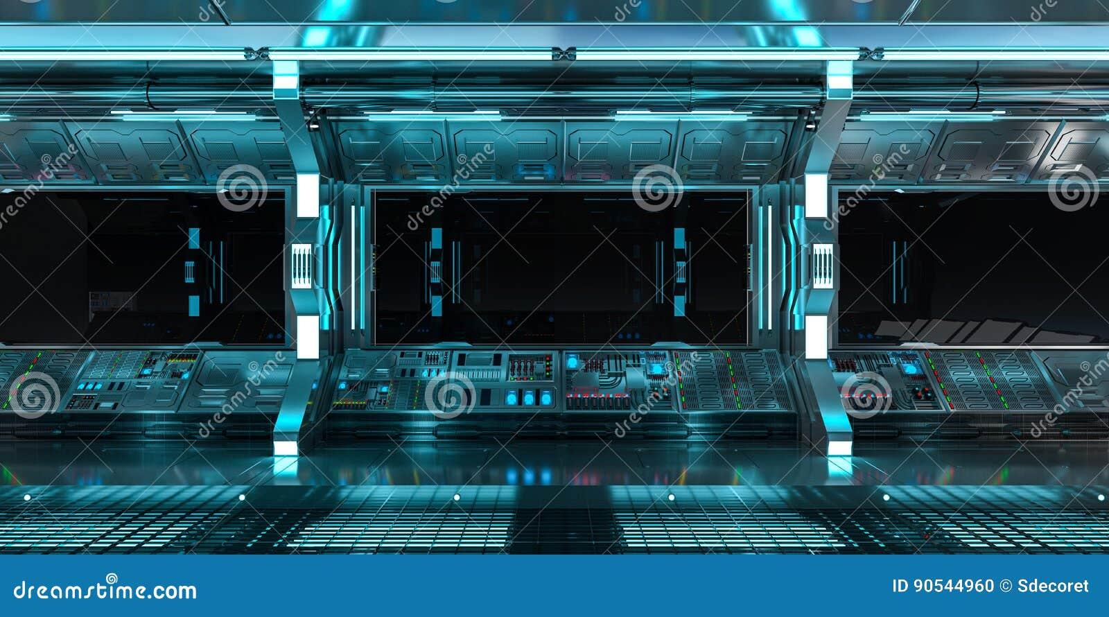 Interior de la nave espacial con la opinión sobre la representación negra de la ventana 3D
