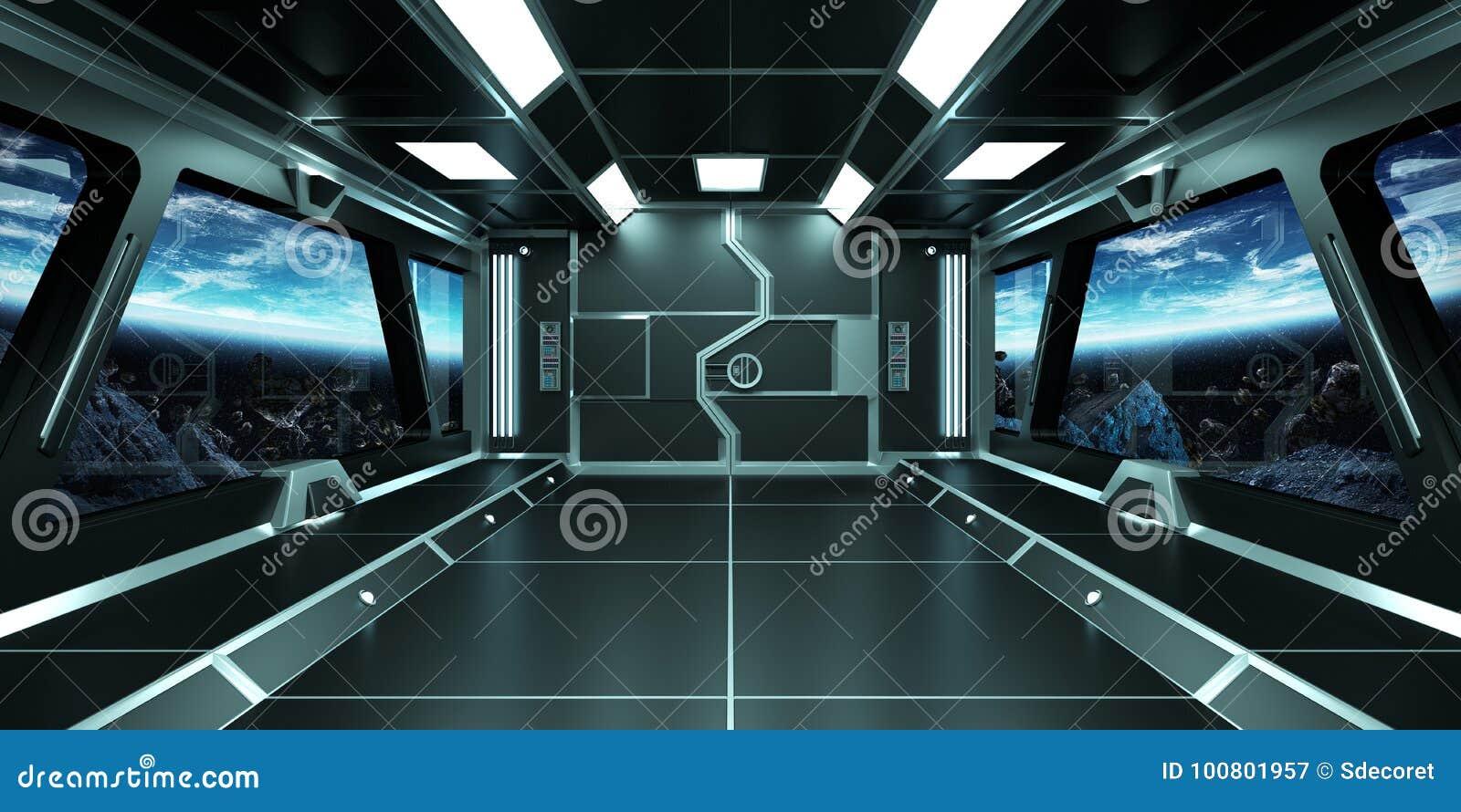 Interior De Ventana De Nave Espacial: Interior De La Nave Espacial Con La Opinión Sobre
