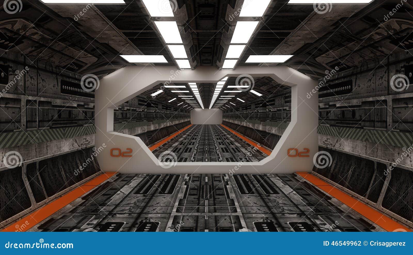 Interior de la nave espacial visi n de centro con el piso for Interior nave espacial