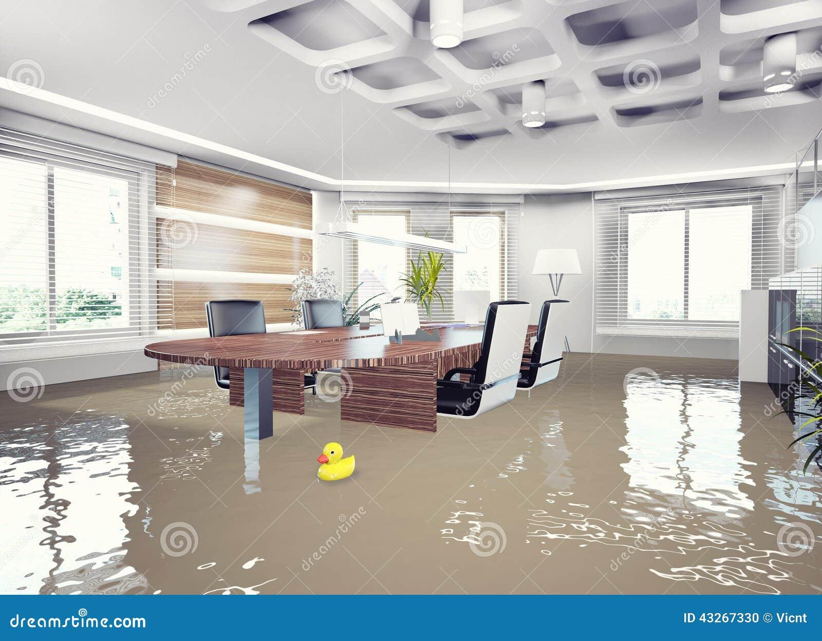 Interior de la oficina de la inundaci n stock de for Interior oficina