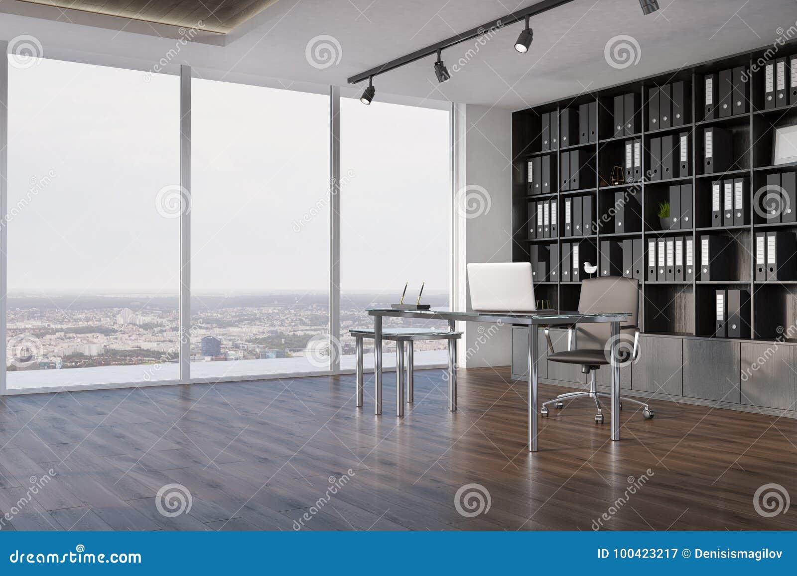 Interior de la oficina del CEO, vista lateral del estante para libros