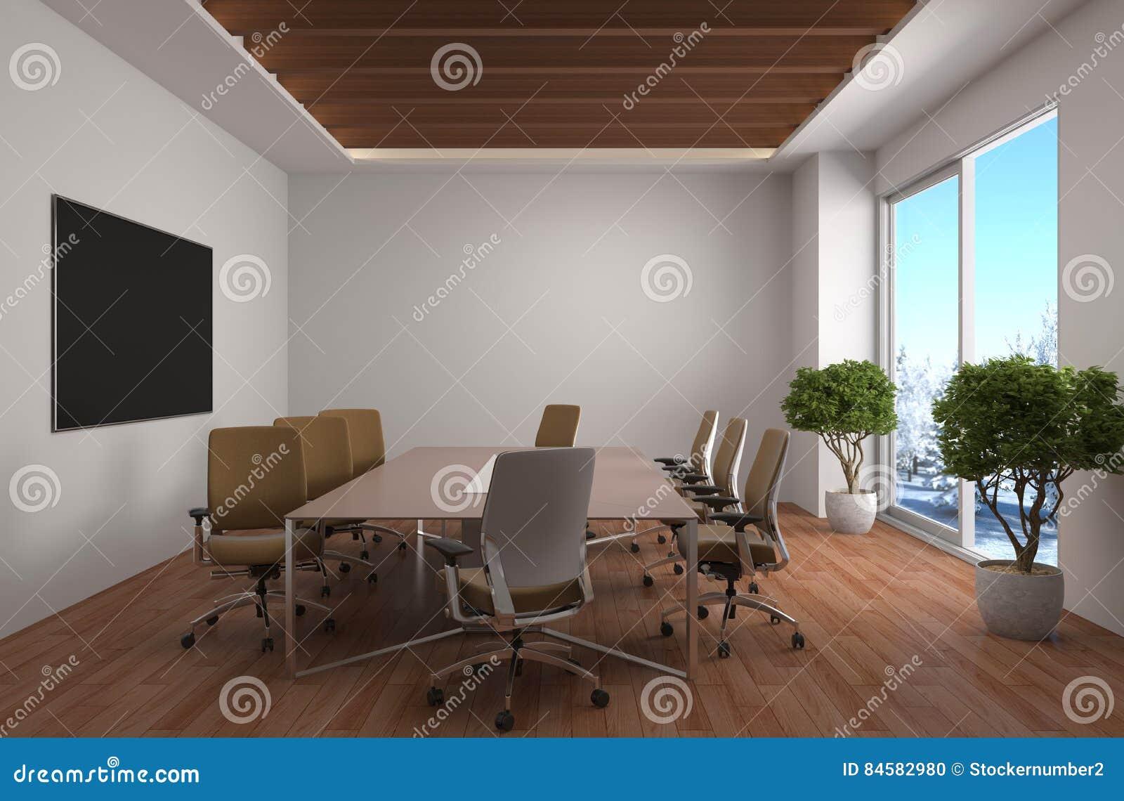 Interior de la oficina ilustración 3D